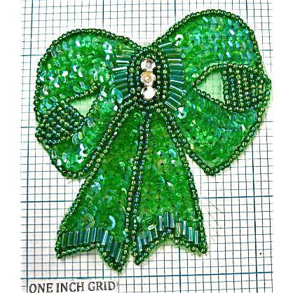 Bow Lime Green with Green Beads and Rhinestone