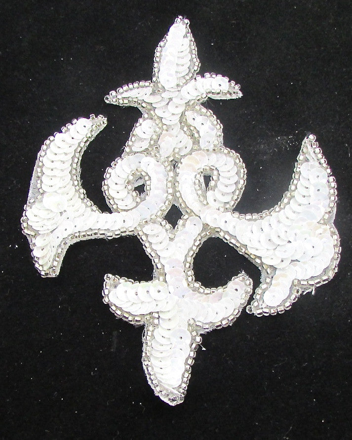 "Designer Motif with White Sequins Silver Beads 6"" x 4"""