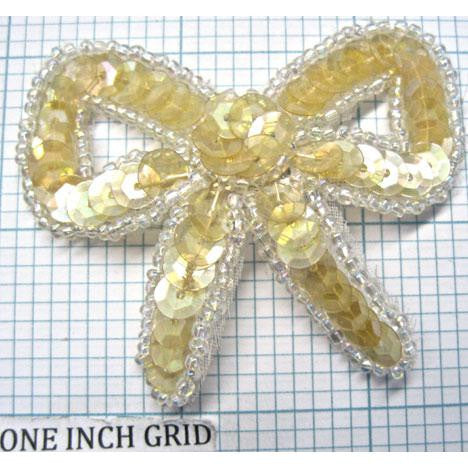 "Bow  yellowish Iridescent Sequins and Beads  2.5"" x 2"""