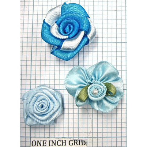 Flower Set of  Three Blue Satin 1""
