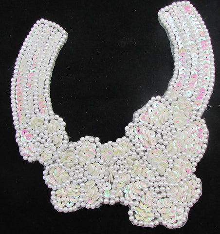 "Designer Motif with Flower White Beads and sequins  8"" X 6.5"""