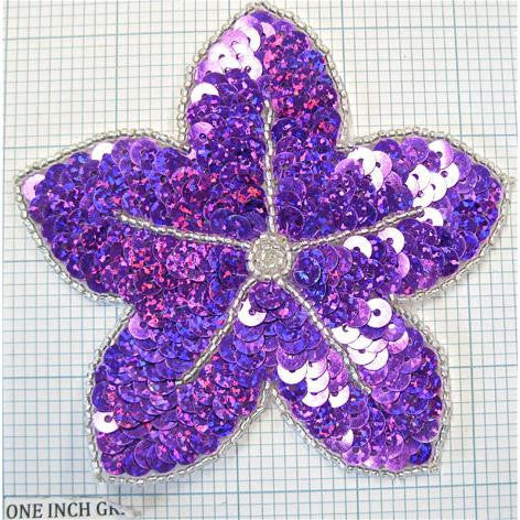"Flower Sequins and Beaded 4.25""x 4.25"""