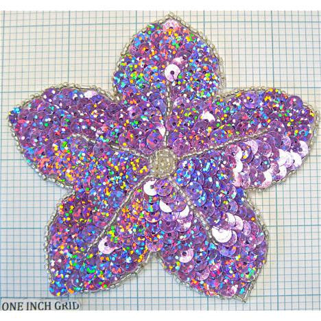 "Flower with Sequins and Beads 4.25"" x 4.25"""