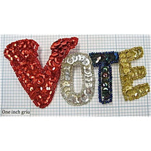 "Load image into Gallery viewer, Vote with Red silver Moonlite Gold Sequins and Beads 2.5"" x 5.25"""