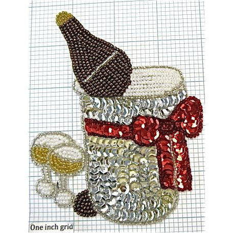 "Champagne Bucket Sequin Beaded 5"" X 4"""