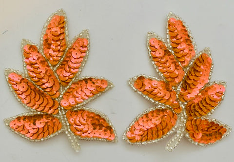 "Leaf Pair with Brilliant Peachy Pinky Sequins and Silver Beads 4"" x 3"""