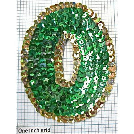 Number Zero with Green and Gold Sequins 3.5""