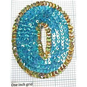 Number Zero with Turquoise and Gold Sequins  3.5""
