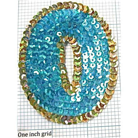 Number Zero with Turquoise and Gold Sequins  3.5