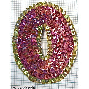 Number Zero  with Pink and Gold Sequins 3.5""