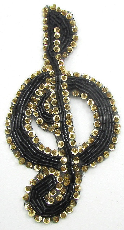 "Treble Clef Black and Gold 5"" X 3"""