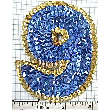 Number 9 with Blue and Gold Sequins 3.5""