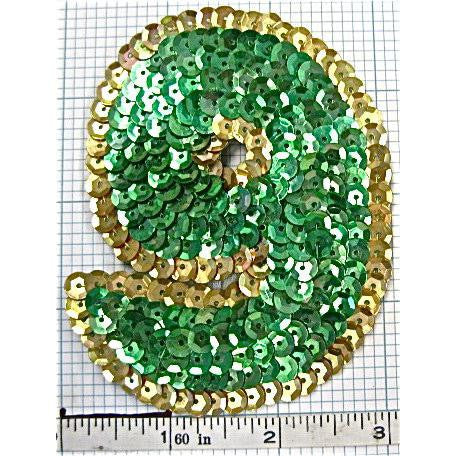 Number 9 with Green and Gold sequins 3.5""