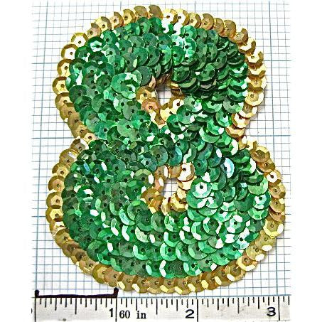Number 8   with Green and Gold Sequins 3.5""