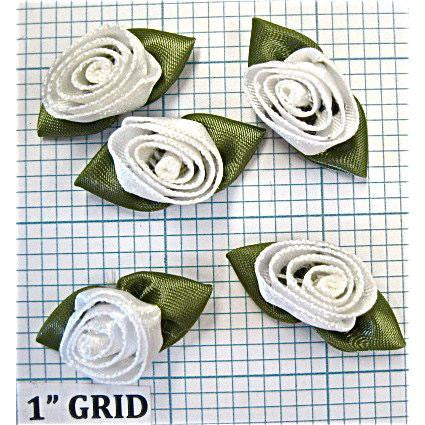 Flower Set of 5 Satin White  1""
