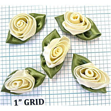 Flower Set of 5 Beige with Green Leafs