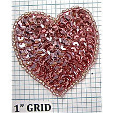 Load image into Gallery viewer, Heart Pink, With Pale Pink Beading, 2 ""