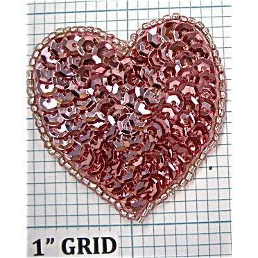Heart Pink, With Pale Pink Beading, 2 ""