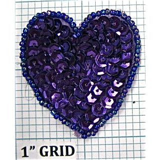 "Heart Purple 2"" Purple Bead Trim"