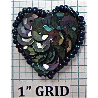 Heart with Moonlite Sequins and Beads 1""