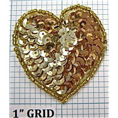Heart Cupped Gold Sequin Beaded  in 5 Variants