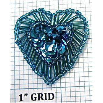 Heart Turqouise with Beads 1.5""