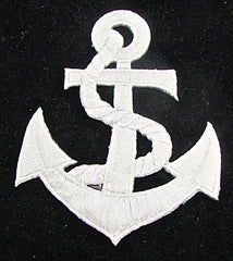 "Anchor with Blue or White Embroidery, Choice of Color 3.25"" x 2.25"" - Sequinappliques.com"