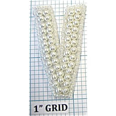 "Letter ""V"" PEARL Beaded 2"""