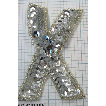 Letter X with Silver Sequins and beads 3""
