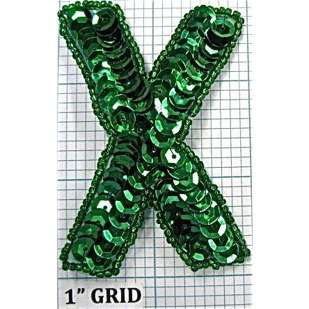 Letter X with Green Sequins and Beads 3""