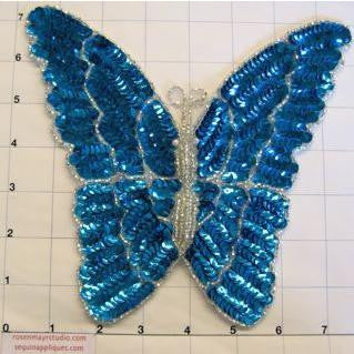 "Butterfly with Turquoise Sequins and Beads 7"" x 7"""
