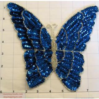 "Butterfly with Blue Sequin 7"" x 7"""