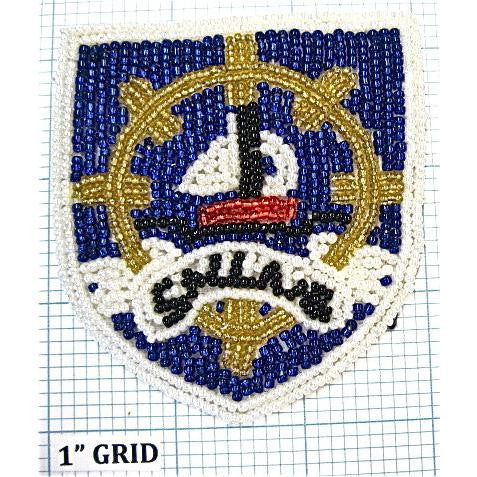 "Nautical Beaded Pocket Patch Crest 3.5"" X 3"""