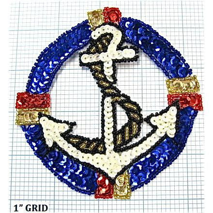 "Anchor with Rope, Sequin Beaded  4.5"" x 4.5"" - Sequinappliques.com"