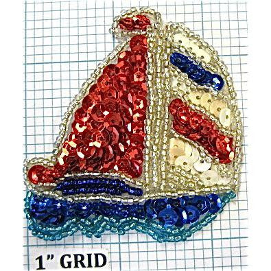 "Sailboat with Red, White, Blue Sequins and Silver Beads 2.5"" X 2.5"""