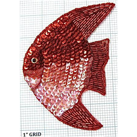 "Fish with Red, Pink Sequins and Red Beads  5.5"" X 4"""