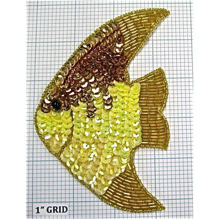"Fish With Gold, Yellow Sequins and Gold Beads  5.5"" X 3.5"""