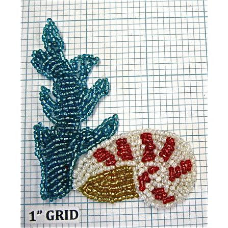 "Seaweed and Shell, Turquoise, White, Red and Gold Beads 3"" X 2.75"""