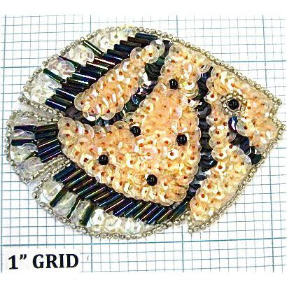 "Fish with Cream, Black White Sequins and Silver Beads  3.25"" X 2.5"""