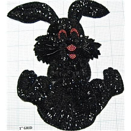 "Bunny Rabbit with Black Sequins and Beads 8.25"" X 6.5"""