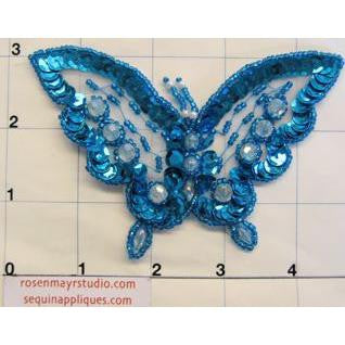 "Butterfly with Turquoise  Sequins and Raised Clear Beads 3"" x 4"""