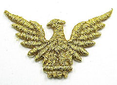 "Eagle, Metallic Gold Embroidered Iron-on  3.5"" x 1.5"""