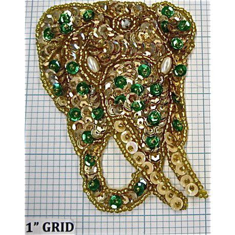 "Gold and Green Dot Elephant 3.75"" x 3"""
