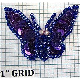 "Butterfly with Purple Sequins and Beads 1"" x 1"""