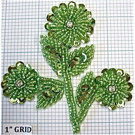 "Flowers, Green sequins and beading with rhinestones  3.5"" x 3.5"""