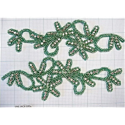 "Flower Designer Motif Pair, Green with Beads and Rhinestones 8"" x 2.5"""