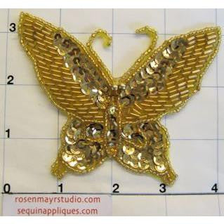 "Butterfly with Gold Sequins and Beads 3"" x 3"""