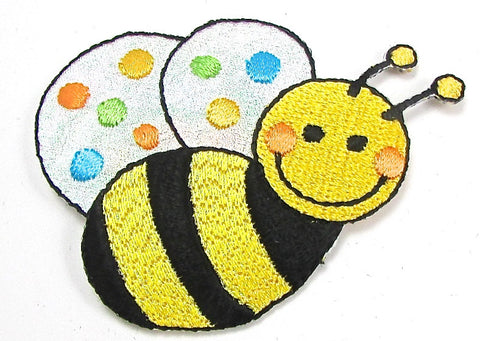 "Bumble Bee Embroidered Iron-On  2"" x 1.75"""