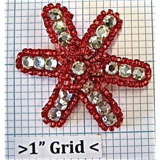 Flower with Red Beads and Rhinestones 2""