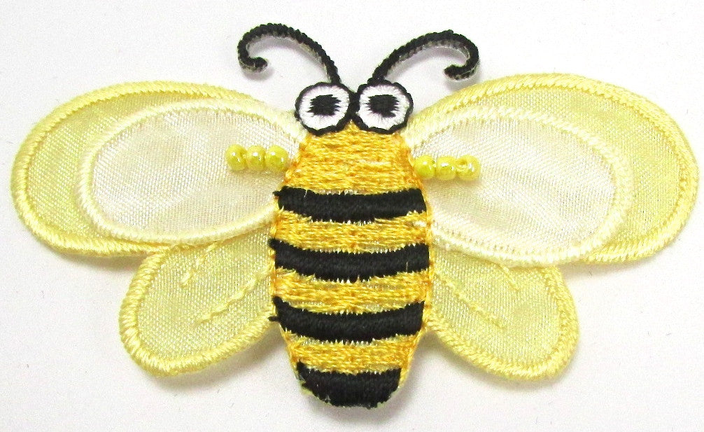 "Bumble Bee Embroidered with Yellow Black and White 1.5"" x 2.5"""